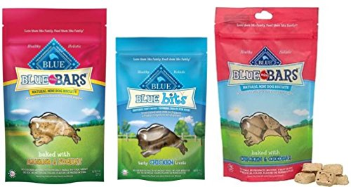 Blue Buffalo Blue Bars And Blue Bits Natural Mini Dog Biscuits 3 Flavor Variety Bundle: (1) Blue Mini Bars Baked With Chicken & Cheddar, (1) Blue Bits Tasty Chicken Recipe Soft Moist Training Treats, and (1) Blue Mini Bars Baked (Dog Treats Three Bars)