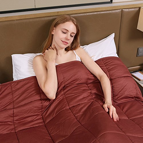 ZonLi Premium Weighted Blanket by For Adults Women, Men, Children | Great for Insomnia, Autism, ADHD, Stress and Anxiety Relief | Fit King Sized Bed | Brown, 60'x80'', 20lbs by ZonLi
