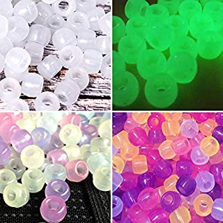 Korlon 1000 Pcs Pony Beads, Plastic Bracelet Beads UV Beads for Jewelry Making Bracelets, Necklace, Glow in The Dark Beads