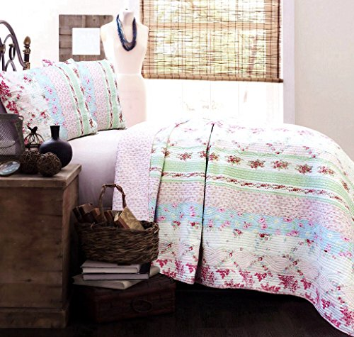 Cozy Line Home Fashions Daisy Field Bedding Quilt Set, Pink White Flower Floral Embroidered Real Patchwork 100% Cotton Reversible Coverlet Bedspread, Gifts for Girl (Wild Rose, King - 3 Piece)