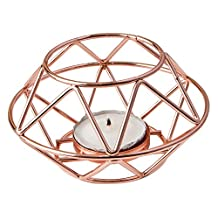 Fashioncraft 8742 Geometric Design Rose Gold Metal Tealight Candle Holder