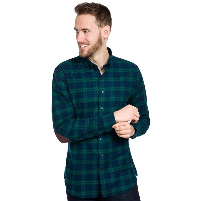 new arrival fed9b ca96e ALLBOW Grün Blau Kariertes Flanell Herren Hemd aus Baumwolle mit und ohne  Patches