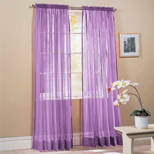 2-Piece Solid Lavender Purple Sheer Window Curtains/Drape/Panels/Treatment 60
