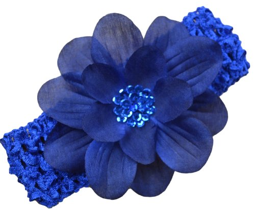 Blue Crochet Flower (Claribel Baby Flower Headband (Navy Blue))