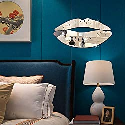 WOCACHI Wall Stickers Decals Removable Lips Mirror Wall Stickers Decal Art PVC Home Room Decoration DIY Art Mural Wallpaper Peel & Stick Removable Room Decoration Nursery Decor