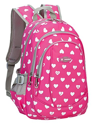 BLUEFAIRY Hearts Print School Backpacks for Girls/Kids Elementary Bags Book Bag, Small, Rose/Red