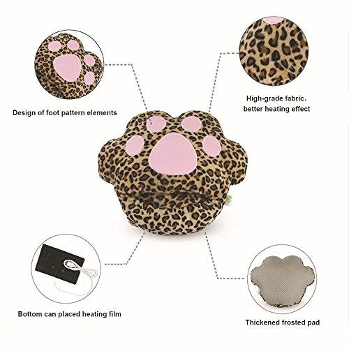 USB Leopard Slipper Plush Soft Cat Warmers Heated For Slippers Heating Winter Women Pink Shoes Men Feet Paw Cute ABCxgrAqw
