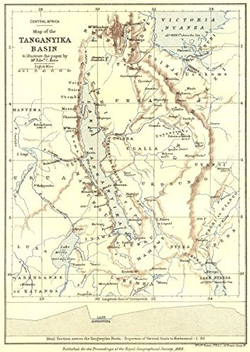Lake Tanganyika On A Map Of Africa.Lake Tanganyika Basin Congo Rwanda Burundi Tanzania Zambia Hore