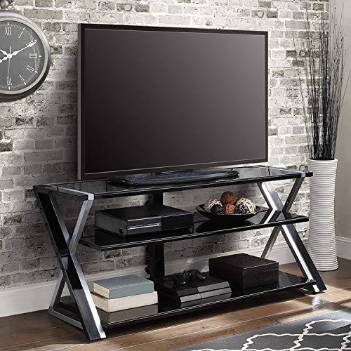 (Black Silver Flat Screen TV Stand Console 70 inch Storage Media TV Cabinet Display Shelf Shelves Unit Living Room Furniture Organizer Entertainment Center)