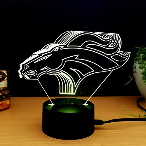 Denver Broncos Light 3D LED Night Light Lamps by King's Bridal A Great Nightlight with a Soft Glow for Kids Home Decor Lamp Football Fans Gifts to Boys Adults Friends ()