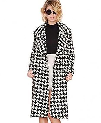 Longline cappotto delle donne in pied de poule: Amazon.it