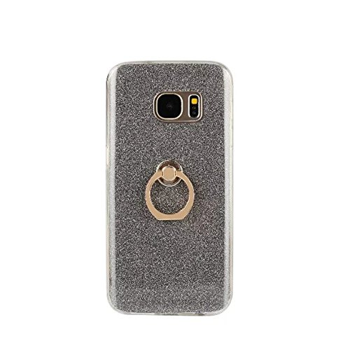 Luxury Bling Sparkle Style Case, Soft TPU [Silicone] Flexible Glitter Back Cover with Fingerring Stand for Samsung Galaxy S7 ( Color : White ) Black
