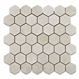 Crema Marfil Marble Polished 2'' Hexagon Mosaic Tile - Box of 5 sq. ft.