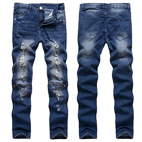 Denim Slim Jeans Uomo Nastrati Autunno Stretch Biker Blau Skinny Pantaloni Fit Estate ztqYwtU