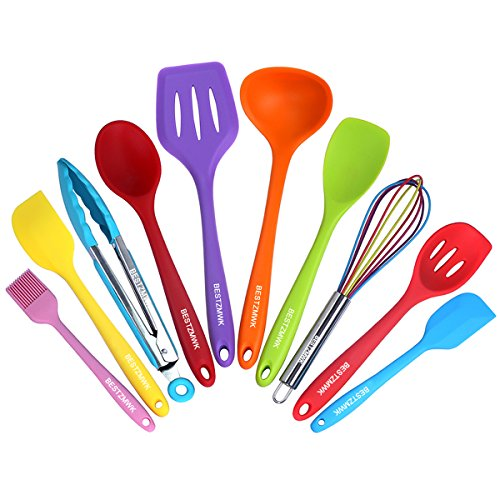Silicone Kitchen Utensils Colorful 10 Pieces, Nonstick Cookware Colored Kitchen Utensil set,Cooking Utensils With Tongs,Mixing Spoon,Slotted Spoon Tools, Gadgets,Spatula sets,Basting brush,Whisk