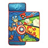 Kids Boys Marvel Captain America Super Heros Themed Nap Mat, Fun Fantastic Superheros Action Cartoon Sleeping Pad, Avengers Blue Red Green Yellow Light Travel Bedding, Polyester