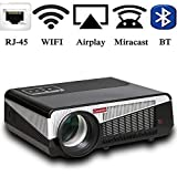 Gzunelic 5500 lumens Android WiFi 1080p Video Projector LCD LED Full HD Theater Proyector with Bluetooth Wireless Synchronize to Smart Phone by Airplay or Miracast Ideal for Home Entertainment