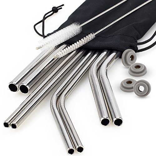 Chefast Stainless Steel Drinking Straws - 4x2 Combo Kit - Reusable Metal Straws for Everything From 30 oz Yeti Tumblers to Thick Smoothies - Cleaning Brushes, Silicone Rings, and Long Case Included by Chefast