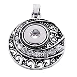 Souarts Antique Silver Color Flower Rhinestone Snap Button Jewelry Charm Pendant for DIY Bracelet (Silver 1)