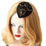 Bueer Lady Girl Women Fascinator Hair Clip Hat Hair Band Hair Accesorry (Black)