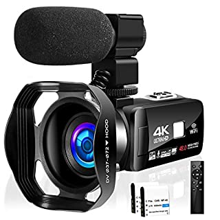 Camcorder Video Camera 4K 48MP 18X Video Camera WiFi YouTube Camera IR Night Vision Camcorder with 360°Wireless Remote Control, External Microphone and Lens Hood