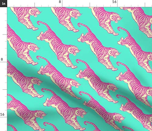 Bold Tigers - Spoonflower Bold Tiger Fabric - Pink and Green Jungle Tiger Print Tigers Animal Print Cat Lover Wild Cat Tiger Cat Abstract by Olaholahola Printed on Organic Cotton Knit Ultra Fabric by The Yard