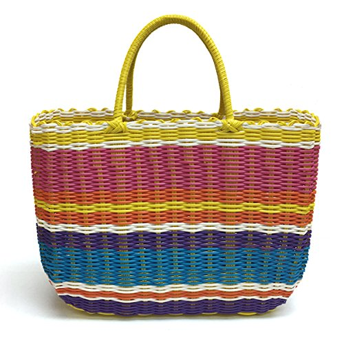 Lightweight Woven Tote (Tote Bag by Bambou, Fashion Purse Women, Waterproof Beach Bag, Ladies Shopping Bag, 100% Recycled Material (Flower Market Brights))