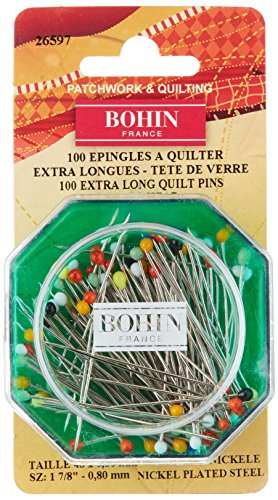 Bohin 26597 Quilting Glass Head Pin Size 30 - 1 7/8in 100ct by Bohin
