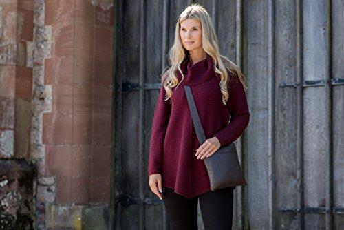Bag Grained Detail Walnut Brown Leather Brown Luxury Tassel w Cross Body Pocket Women's Soft wqRRa1xFz