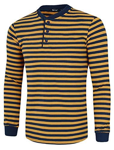 TATT 21 Men Henley Shirt Cotton Pullover Long Sleeve Casual Striped T Shirts Blue Yellow Large