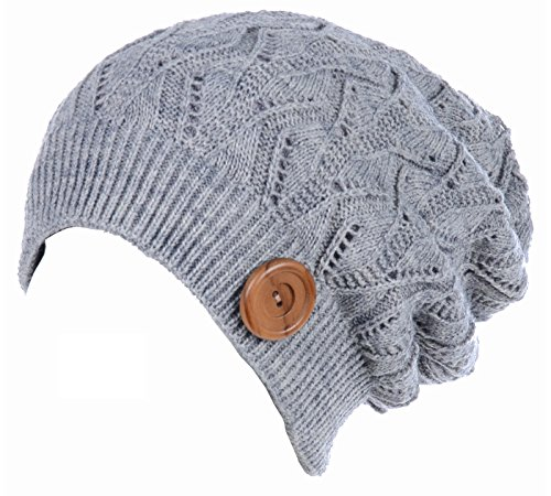 BYOS Winter Warm Fleece Lined Knit Slouchy Beanie Hat W/Wooden Button Accent (Heather Gray)