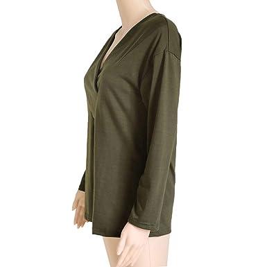 Luckycat Forme a Mujeres la Camiseta sólida con Cuello en v Office Ladies Plain Roll Sleeve Blusa Tops: Amazon.es: Ropa y accesorios