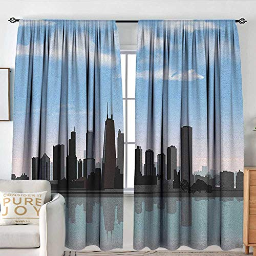 Petpany Window Curtains Chicago Skyline,Day Time Illinois Missisippi River Clouds Coastal Town Urban Design, Onyx Blue Grey,for Room Darkening Panels for Living Room, Bedroom 72