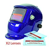 Proelectric Blue Print Professional Auto Darkening Solar Powered Welders Welding Helmet Mask With Grinding Function