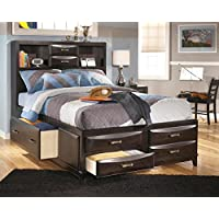 Kira B473-77/74/88 Full Size Storage Bed with 2 Open Headboard Compartments 4 Footboard Drawers and 2 Side Drawers in an Almost Black Color