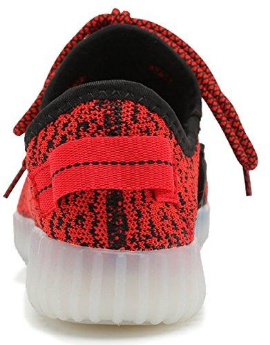 Joansam 7 Farben LED Luminous Unisex Sneakers Männer u. Frauen USB Aufladungslicht bunte glühende Freizeit blinkende Schuhe Sportschuhe Rot3