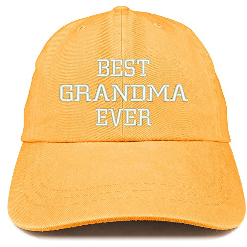 Trendy Apparel Shop Best Grandma Ever Embroidered Pigment Dyed Low Profile Cotton Cap - Mango