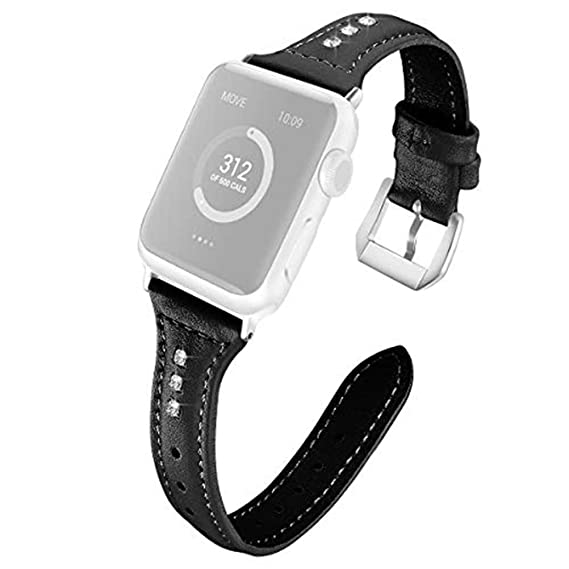 72c6d8fac54 Dibikou Leather Bands Compatible for Apple Watch Band 42mm 44mm Slim  Replacement Wristband Sport Strap for