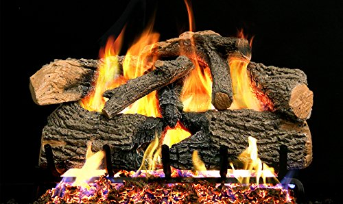 Peterson Real Fyre 24-inch Charred Evergreen Oak With Vented Natural Gas G52 Burner - Electronic Variable ()