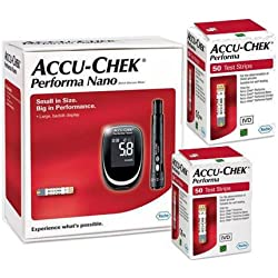Accu Chek Performa Nano Glucometer Kit 100 Test Strips