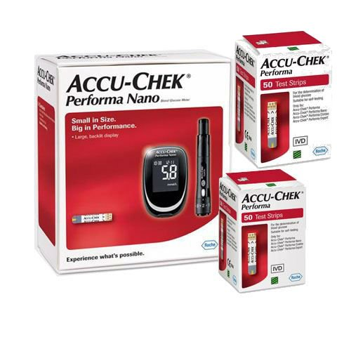 Accu Chek Performa Nano Glucometer Kit with 100 Test Strips