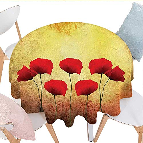 Poppy Dinner Picnic Table Cloth Poppies on an Old Aged Retro Featured Backdrop Design Past Days Drama Petals Artprint Round Wrinkle Resistant Tablecloth D70 Red Cream