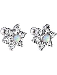 Stainless Steel 16g Cartilage Earring Screw Backs Piercing CZ Opal Stud Earrings Cubic Zirconia Flower