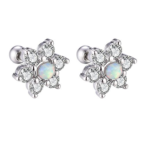 Piercing Opal Flower Stainless Steel Cartilage Barbell Cubic Zirconia Stud Earring (2pcs) (Cubic Zirconia Replacement Ball)