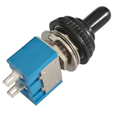 Bleu + 10 Pcs Waterproof Cap KINYOOO 10 Pi/èce Mini Interrupteur /à Bascule 250V//3A 2 Pin SPDT ON-Off 2 Broches 2 Position SPDT Interrupteur a Bascule Autobloquant pour Pi/èces Dauto AC 125V//6A