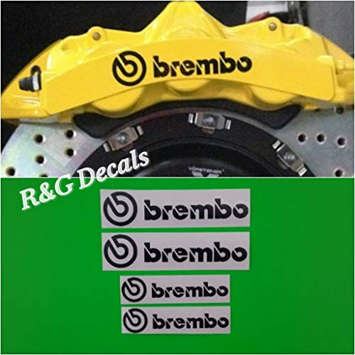 R&G Brembo 6 Piston & 4 Piston HIGH TEMP Brake Caliper Decal Sticker Set of 4 Decals (Black) ()