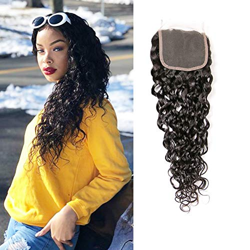 BK Beckoning 10 Inch Closure Brazilian Hair Water Wave 100% Unprocessed Curls Human Hair Top Lace Closure Free Part Silky Brazilian Virgin Hair Natural Color 1 Piece a Pack ()