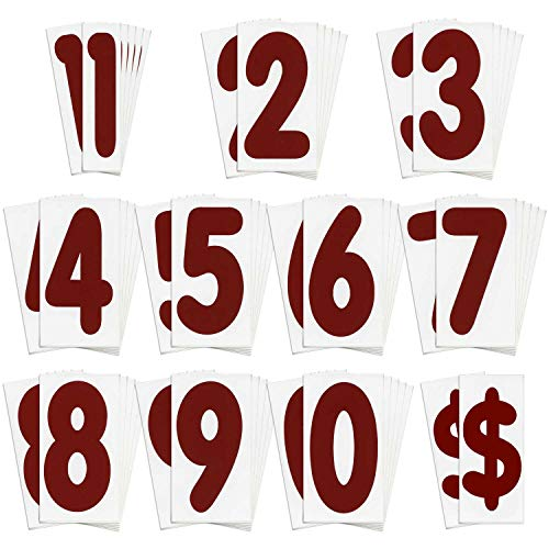 KitAbility Replacement Number Set for White Message Board Sidewalk Signs with 4 Inch Tracks Includes 6 Each of Red Numbers 0 to 9