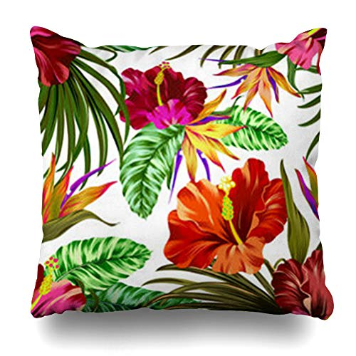 ArtsDecor Throw Pillow Covers Brush Amazing Tropical Flowers Pattern Gorgeous Botanical Hibiscus Vibrancy Palm Bird Paradise File Home Decor Cushion Square Size 20