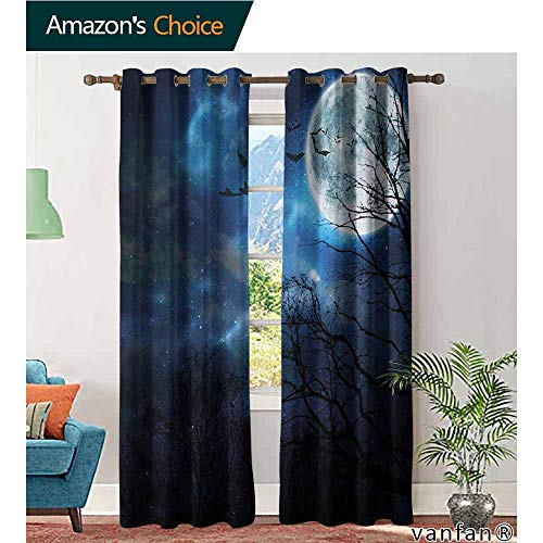 LQQBSTORAGE Halloween,Curtains for Living Room,Bats Flying in Majestic Night Sky Moon Nebula Mystery Leafless Trees Forest, Window Drapes for Bedroom,Blue Black White -
